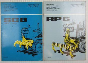 Fiat trattori SC8 RP6 Ripper Ersatzteilliste Parti Pieces Parts List 1971