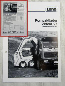 Prospekt Lanz Zetcat 27 Kompaktlader 1984 mit technischen Angaben
