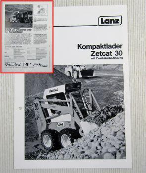 Prospekt Lanz Zetcat 30 mit Zweihebelbedienung Technische Daten 1984
