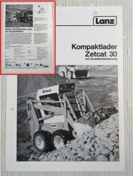 Prospekt Lanz Zetcat 30 mit Zweihebelbedienung Technische Daten 1985