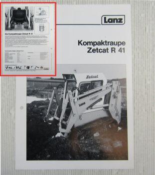 Prospekt Lanz Zetcat R41 Kompaktraupe Technische Daten 1984