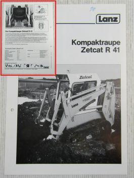Prospekt Lanz Zetcat R41 Kompaktraupe Technische Daten 1985