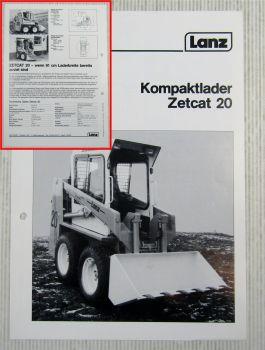 Prospekt Lanz Zetcat 20 Kompaktlader Technische Daten Ausgabe 1984