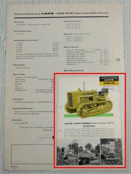 original Prospekt John Deere Lanz 440IC Industrie-Raupe mit Reverser 1960