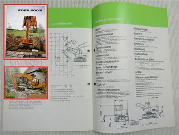 Prospekt Eder 600R Raupenbagger mit technischen Angaben Ausgabe ca 1970