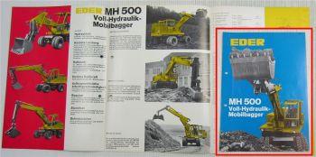 Prospekt Eder MH500 Voll-Hydraulik-Mobilbagger ca 1967