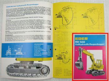 Prospekt Eder RH500 Voll-Hydraulik-Raupenbagger ca 1967