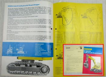 Prospekt Eder H500R vollhydraulischer Raupenbagger ca 1969 + Preisangebot