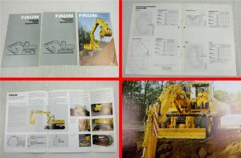 3 Prospekte Faun Raupenbagger FM1035 FR1035LC technische Daten 1982