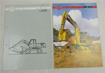2 Prospekte O&K Faun Mobilbagger FM1025 technische Daten 1986