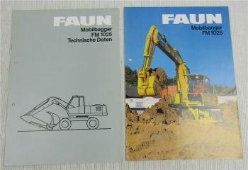 2 Prospekte Faun Mobilbagger FM1025 technische Daten 1984
