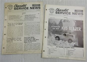 Chevrolet Blazer K5 K10 K20 Service News No. 4 and 8 1969