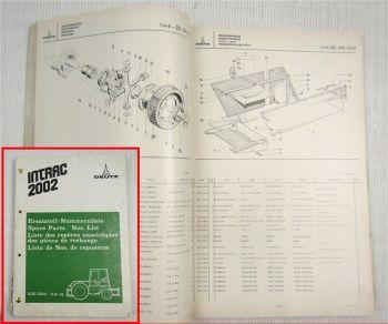 Deutz Intrac 2002 Schlepper Ersatzteilliste 1973 Original Ersatzteilkatalog