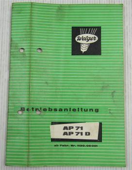 Welger AP71 AP71D Aufsammelpresse Bedienungsanleitung Betriebsanleitung 1972