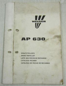 Welger AP630 Aufsammelpresse Ersatzteilkatalog Ersatzteilliste 1987