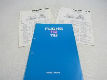 3 Prospekte Fuchs 114M 114R 118R 118M Mobil Raupe ca 1980