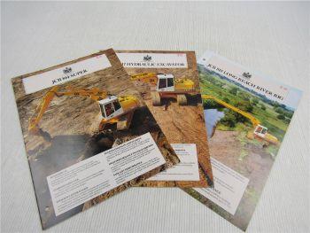 3 Brochures JCB 814 Super 817 Hydraulic Excavator 818 Long Reach River Rig