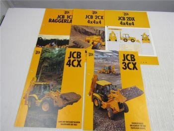 5 Prospekte JCB 1CX 2CX 2DX 3CX 4CX Baggerlader 1995