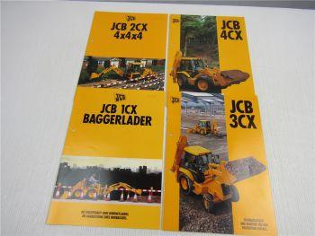 4 Prospekte JCB 1CX 2CX 3CX 4CX Baggerlader 1996