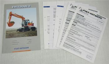 Fiat Hitachi FH 130W.3 Bagger Einstelldaten Servicedaten technische Daten