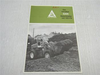 Prospekt Allis Chalmers 545 Gelenklader 105 PS  technische Daten 1971