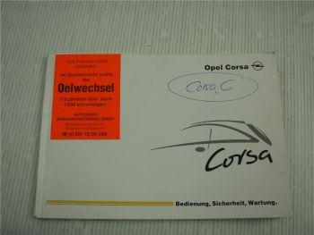 Opel Corsa C Sport GSI Bordbuch Bedienungsanleitung Betriebsanleitung 2001