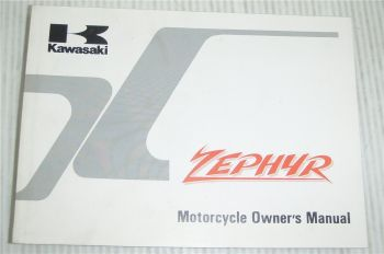 Kawasaki Zephyr ZR550-B1 Motorcycle Owners Manual 1990 Bedienungsanleitung engl.