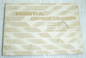 Honda CBX550F FII F2 Bedienungsanleitung Owners Manual de explicaciones 1982