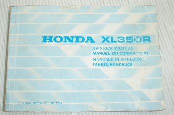 Honda XL350R Bedienungsanleitung Owners Manual 1984