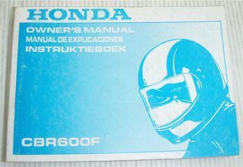 Honda CBR600F Instruktieboek Owners Manual Manual de Explicaciones 1989
