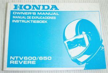 Honda NTV 600 650 Revere Instruktieboek Owners Manual Manual Explicaciones 1990
