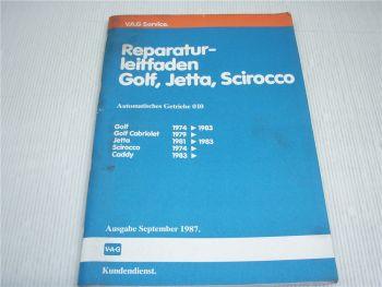 Werkstatthandbuch VW Golf I / Cabrio Jetta Scirocco Automatik Getriebe 010 1987