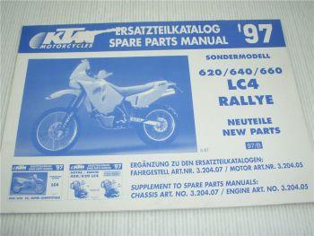 KTM 620 640 660 LC4 Rallye Neuteile Schaltplan Ersatzteilliste Nachtrag 1997