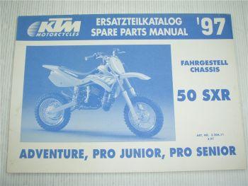 KTM 50 SXR Junior Adventure Senior Ersatzteilliste Spare parts List 1997
