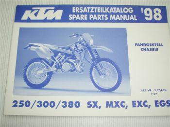 KTM 250 300 380 SX MXC EXC EGS Ersatzteilliste Spare parts List 1998