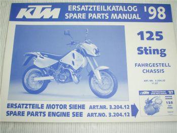 KTM 125 Sting Ersatzteilliste Spare parts List 1998