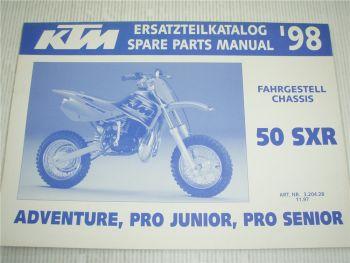 KTM 50 SXR Pro Junior Sendio Adventure Ersatzteilliste Spare parts List 1998