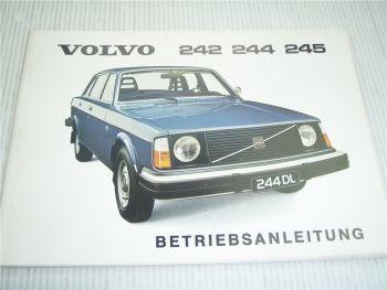 Volvo 242 244 245 de Luxe Betriebsanleitung 1976 Bedienungsanleitung