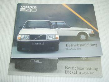 Volvo 240 244 245 DL GL GLT Betriebsanleitung 1987 Bedienungsanleitung
