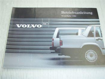 Volvo 740 Betriebsanleitung 1986 Bedienungsanleitung