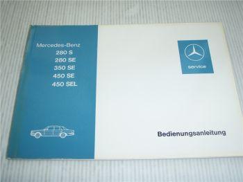 Mercedes Benz 280S 280 350 450 SE SEL W116 Betriebsanleitung Bedienungsanleitung