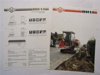 Prospekt O&K RH1.1 Mini Excavator wohl 80er Jahre und technische Daten