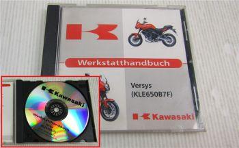Kawasaki Versys KLE650B7F Werkstatthandbuch Reparaturanleitung CD 8/2006