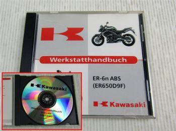 Kawasaki ER-6n ABS ER650D9F Werkstatthandbuch Reparaturhandbuch CD