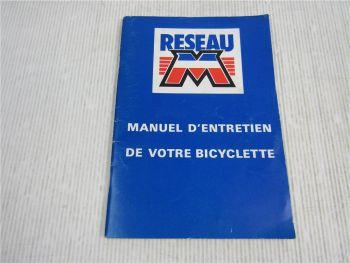 Motobecane Fahrrad Bedienungsanleitung Betriebsanleitung Manuel d Entretien 1986