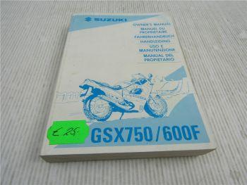Suzuki GSX750 GSX600F Bedienungsanleitung Owners Manual Handleiding 7/1994