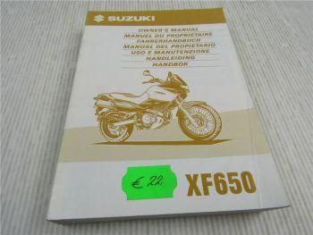 Suzuki XF650 Bedienungsanleitung Owners Manual Handleiding 5/1997