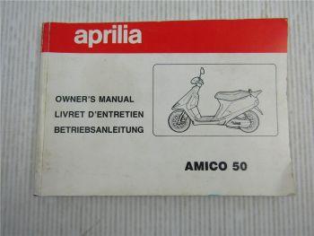 Aprilia Amico 50 Roller Betriebsanleitung Livret D Entretien Owners Manual