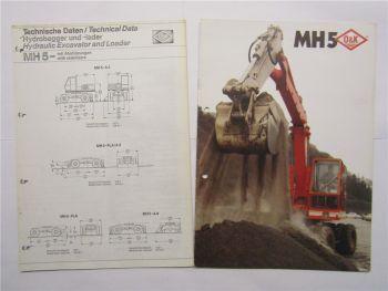 Prospekt O&K MH 5 Bagger Hydrobagger Technische Daten von 1981