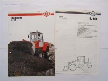 Prospekt O&K L10 Radlader 1989 und technische Daten Datenblatt